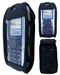 Protective leather case with Velcro seal and fixed belt clip including lanyard for Nokia 3220 / 3220i / 6020 / 6020i / 5140 / 5140i