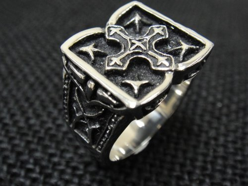 The Biker Metal 316L Stainless Steel Men's Silver Cross Ring for Harley Rider Motor Biker TR-87 by Priority Mail