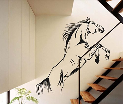 Large Animal Galloping Horses Right Face Wall Decal Sticker Living Room Tv Background Stickers Vinyl Removable Black Color