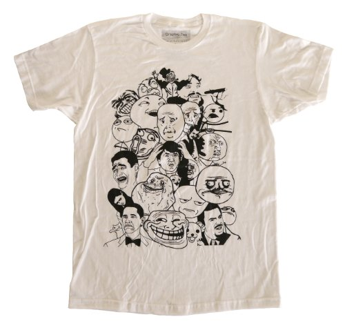 Qraphic Tee Men's Tons Of Meme Characters Fitted T-Shirt M White