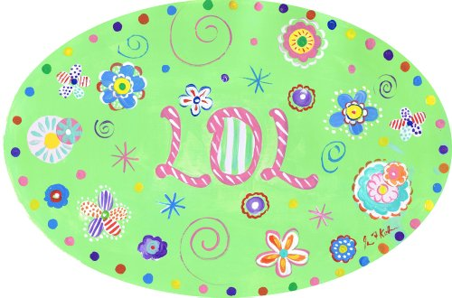 The Kids Room by Stupell Floral LOL Polka Dot Oval Wall Plaque