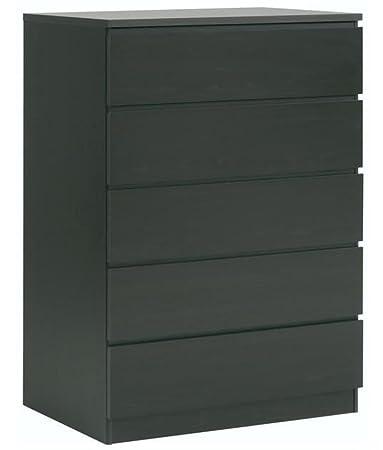 Commode en bois 5 tiroirs en noir, L 76 x P 50 x H 122 cm -PEGANE-