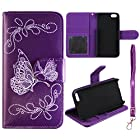 Flip Wallet Silver Butterfly Purple Apple Iphone 5, 5S Leather Pouch With ID Slot at&t. Verizon, Sprint, C Spire Case Cover Hard Phone Case Snap-on Cover Protector Rubberized Touch Faceplates
