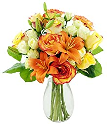 Mother\'s Day Special Orange Zest Roses and Lilies - With Vase
