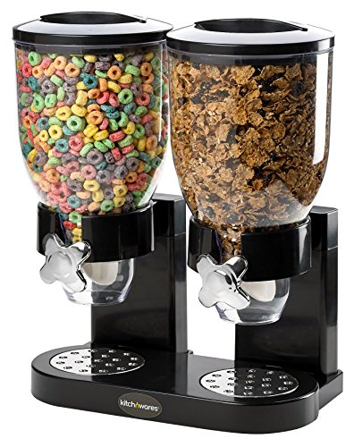 Double Chamber Airtight Cereal And Dry Food Dispenser With Built In Spill Tray For Home, Kitchen, Countertops, Breakfast, Pets, Cat Food, Dog Food, Candy, Pantry, And Meals By, Kitch N' Wares (Cereal Dispenser Double compare prices)