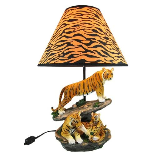 Bengal Tiger Family Table Lamp Animal Print Shade
