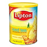 Lipton Sweetened Instant Tea Mix, Lemon, 10 Quart Can (Pack of 6)