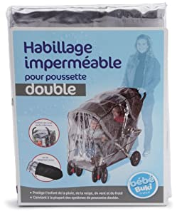 J is for Jeep Tandem Stroller Weather Shield, Baby Rain Cover, Universal Size, Waterproof, Water Resistant, Windproof, See Thru, Ventilation, Clear, Plastic, Protection, Shade, Umbrella, Pram, Vinyl, Double from HIS Juveniles
