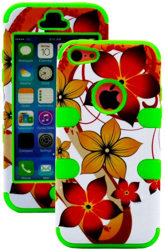 Mylife (Tm) Bright Green + Colorful Tropical Waves 3 Layer (Hybrid Flex Gel) Grip Case For New Apple Iphone 5C Touch Phone (External 2 Piece Full Body Defender Armor Rubberized Shell + Internal Gel Fit Silicone Flex Protector + Lifetime Waranty + Sealed I