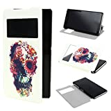 TUTUWEN View Window Painting Art Abstract Style Design PU Leather Flip Stand Case Cover for Sony Xperia Z2