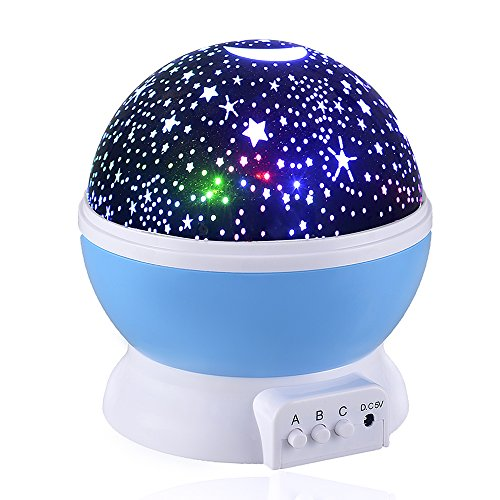 [New Generation] Sun And Star lighting Lamp,Petrelstore 4 LED beads 360 Degree Romantic Lamp Relaxing Mood Light Projector Baby Nursery Bedroom Children Room and Christmas Gift (Blue) (Starry Night Sun Shade compare prices)