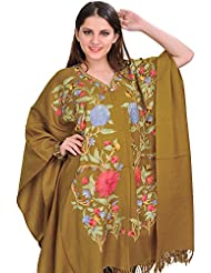 Exotic India Tapenade-Green Cape From Kashmir With Ari Embroidered Flowe - Green