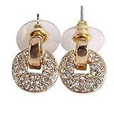 Vktech Glittering Drill Copper Cash Earrings Round Crystal Ear Pendants New