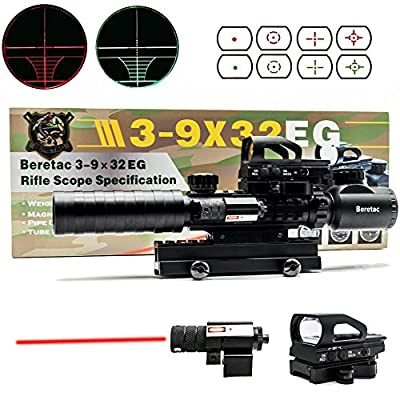 "Beretac Optic4in1 Combo 3-9x32 EG Red&Green Reticle Rifle Scope + 4 postitions Reticle Red Dot Reflex sight with Quick Release Mount + Tactical Red Laser Beam?Riser Mount, 0.83"" High, 13 Slots (Rifle Scope) by Beretac"