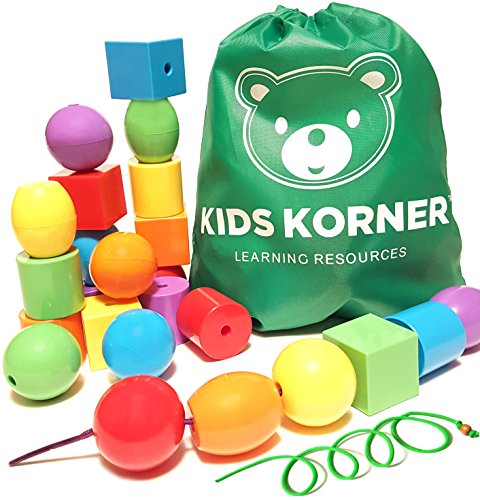 24 Lacing Bead Set for Babies Toddlers & Preschoolers. Primary Jumbo Colors & Shapes Busy Bag + 2 Stringing Laces & Backpack + FREE Activity Guide PDF - Montessori Toys Fine Motor Skills Autism OT
