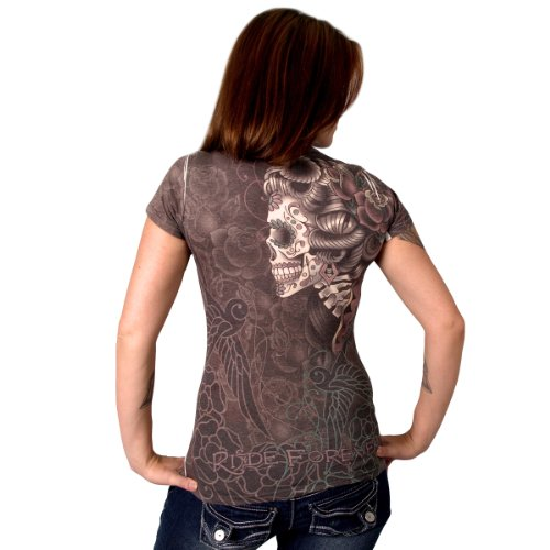 Hot Leathers Sugar Skull Ladies Sublimation T-Shirt (Multi, XX-Large)