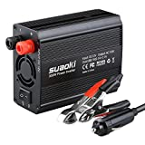 Suaoki Car Power Inverter 300W DC 12V to 110V AC Converter with 5V/2.1A Dual USB Ports, Car Battery Clamps and Car Charger for Charging Electronic Devices and Small Home Appliances