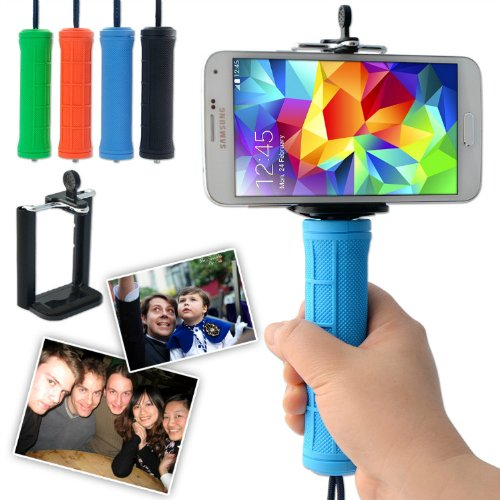 First2Savvv Zp-B-03 Blue Self-Portrait Telescopic Handheld Pole Arm Monopod Camcorder/Camera/Mobile Phone Tripod Mount Adapter Bundle For Samsung Galaxy S4 Active Gt I9295 Galaxy S4 Zoom &Sony Z1 E1 Z1 Compact