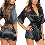 Pure Black Satin Badydoll Set Womens Sexy Lingerie (One Size, fit 8-12)