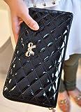 エナメル リボン ラウンドファスナー 長財布 キルティング 大きいサイズ クラッチバッグ (ブラック)