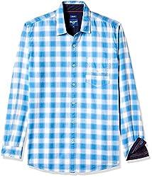 Wrangler Men's Casual Shirt (8907222644871_W1485294538E_Medium_Light Blue)