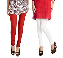 Rupa Softline White and Red Cotton Leggings Combo (Pack Of 2)
