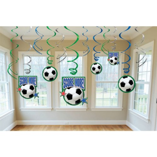 Amscan Soccer Goal Birthday Party Hanging Swirl Ceiling Decoration (12 Piece), Black/White, 10 x 9.5