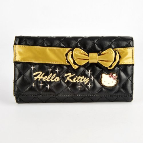 Hello Kitty Gold Bowknot Clutch Wallet Card Coin Purse