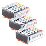 3 Compatible Sets of 5 Canon PGI-520 & CLI-521 Printer Ink Cartridges (15 Inks) - Black / Cyan / Magenta / Yellow for Canon Pixma iP3600, iP4600, iP4700, MP540, MP550, MP560, MP620, MP630, MP640, MP980, MP990, MX860, MX870