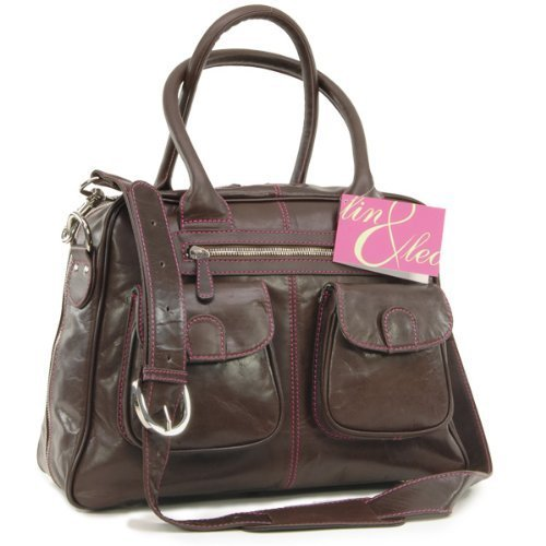 Lin&Leo Leder Wickeltasche, chocolate brown