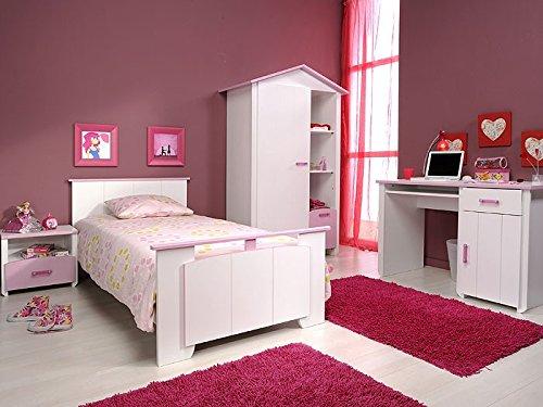Kinderzimmer Beauty 7, 4-teilig weiß rosa, Schrank, Bett, Nachttisch, Schreibtisch günstig