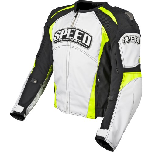 Speed and Strength Twist of Fate 3.0 Men's Motorcycle Textile Jacket (White/Hi-Viz, XX-Large)
