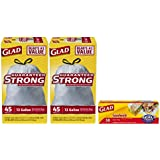 Glad Tall Kitchen Drawstring Trash Bags, 13 Gallon, Two 45 Count Boxes (90 Count Total), Plus Glad Food Storage Bags Zipper Sandwich Bags, 50 Count
