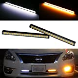 iJDMTOY® Ultra Slim White/Amber 36-SMD Light Switchback LED Daytime Running Lamps For DRL and Turn Signal Lights