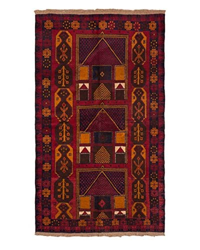 Hand-Knotted Baluch Wool Rug, Red, 3' 8 x 6' 3