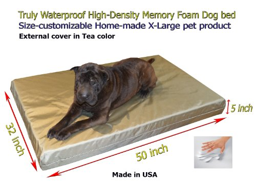 "Home-Made Truly Waterproof Customizable 50""X32""X5"" Memory Foam Premium Light Green Tea Dog Bed"
