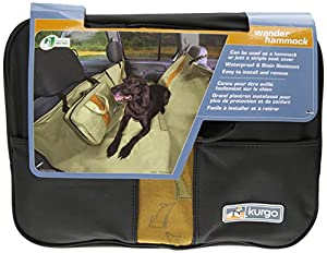 Kurgo Wander Dog Hammock and Seat Cover, Black with Orange