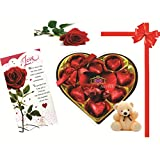 Skylofts 9pc Romantic Chocolate Heart Box With Cute Teddy, A Love Card & A Rose