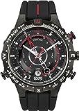 Timex® Men's T2N720 Intelligent Quartz Compass Tide Temperature Silver Case Black Strap Watch