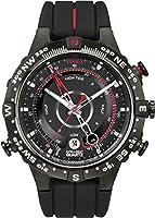Timex - T2N720D7 - Intelligent Quartz - Montre Homme - Quartz Analogique - Cadran Noir - Bracelet Silicone Noir/Rouge