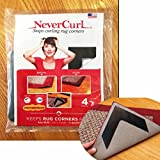 NeverCurl - Stops Rug Corner Curling - SAFE for WOOD FLOORS - Bottom layer of NeverCurl is soft rubber. Use OUTDOOR and INDOOR. (Pack of 4) It works!! Voted Best NEW PRODUCT. Made In USA.