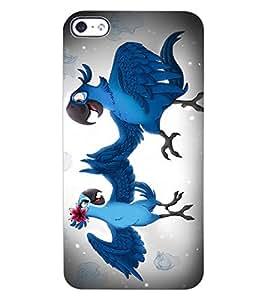 ColourCraft Love Parrots Design Back Case Cover for APPLE IPHONE 4