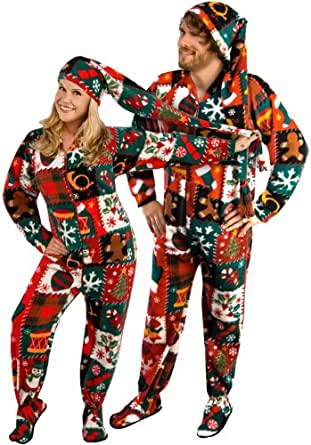 Ugly Christmas Sweater Fleece Drop Seat Footed Pajamas