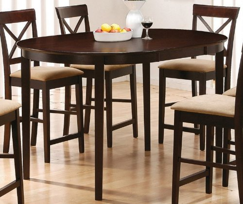 Counter Height Dining Table with Oval Top Rich Cappuccino Finish
