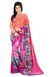 Pruthu Georgette Sari with Unstitched Blouse (pmadh_003_Orange)
