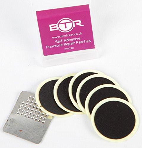 btr-toppe-autoadesive-per-riparazione-forature-bici-confezione-da-6-con-raspa-in-metallo