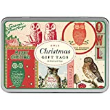 Cavallini Papers Glitter Gift Tags Christmas Owls 36 Assorted Gift Tags Packaged in a Tin