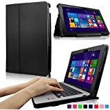 """Infiland ASUS Transformer Book T200TA-C1-BL 2-in-1 Detachable 11.6"""" Inch Laptop Folio PU Leather Smart Stand Case Cover (Black)"""