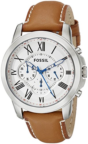 Fossil FS5060 Mens Grant Chronograph Brown Leather Strap Watch