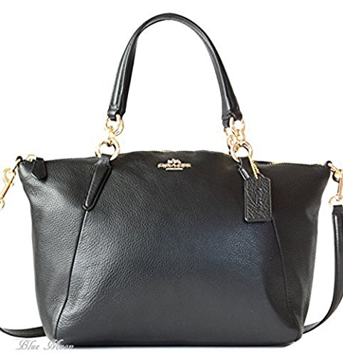 Coach Pebble Leather Sm Kelsey Satchel - Black